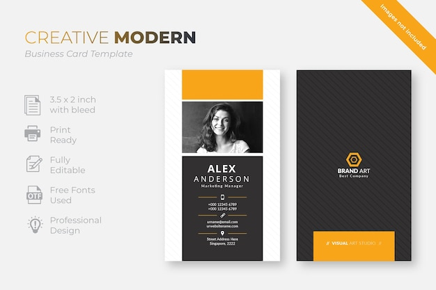 Cartão de visita moderno vertical com detalhes laranja