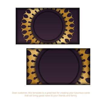 Cartão de visita na cor bordô com enfeite de mandala de ouro para o seu negócio.