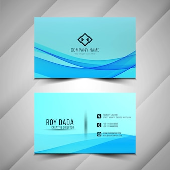 Cartão de visita ondulado azul elegante e abstrato