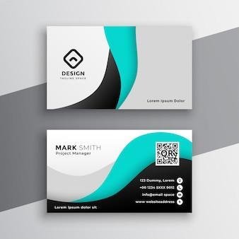 Cartão de visita ondulado moderno de turquesa