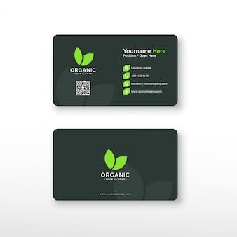 Cartão de visita orgânico verde