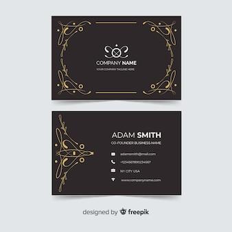 Cartão de visita ornamental dourado modelo