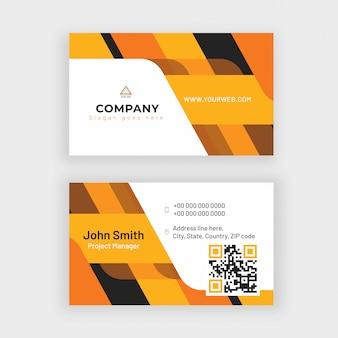 Cartão de visita ou design de cartão de visita na frente e vista traseira.