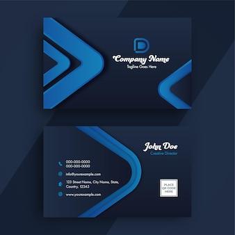 Cartão de visita ou design de modelo horizontal nas cores cinza e azul