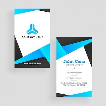 Cartão de visita ou modelo de design na frente e vista traseira.