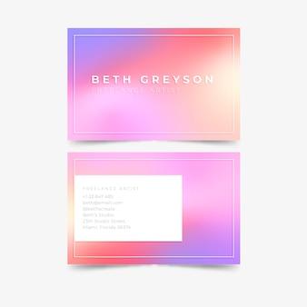 Cartão de visita pastel gradiente