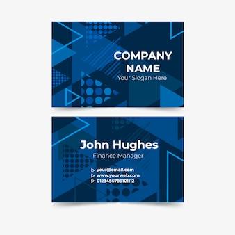 Cartão de visita poligonal de formas azuis