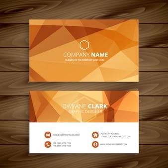 Cartão de visita poligonal laranja