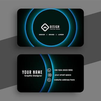 Cartão de visita preto com linhas curvas azuis brilhantes