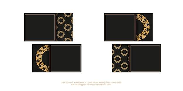 Cartão de visita preto com padrão vintage marrom