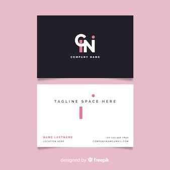 Cartão de visita preto e branco minimalista