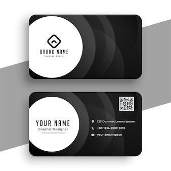 Cartão de visita preto em estilo moderno