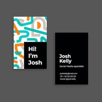 Cartão de visita profissional de mídia social josh moderno