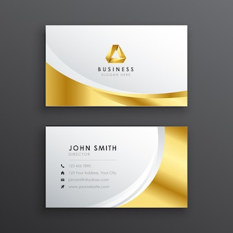 Cartão de visita profissional elegante em ouro e prata