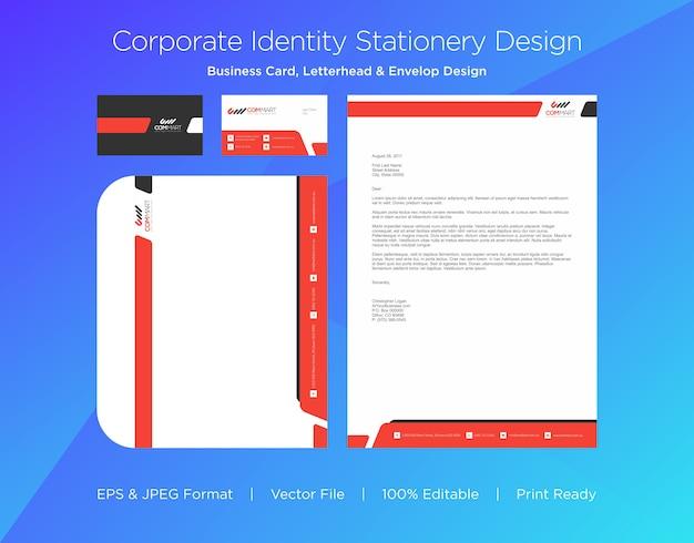Cartão de visita profissional, papel timbrado e modelo de design de envelope Vetor Premium
