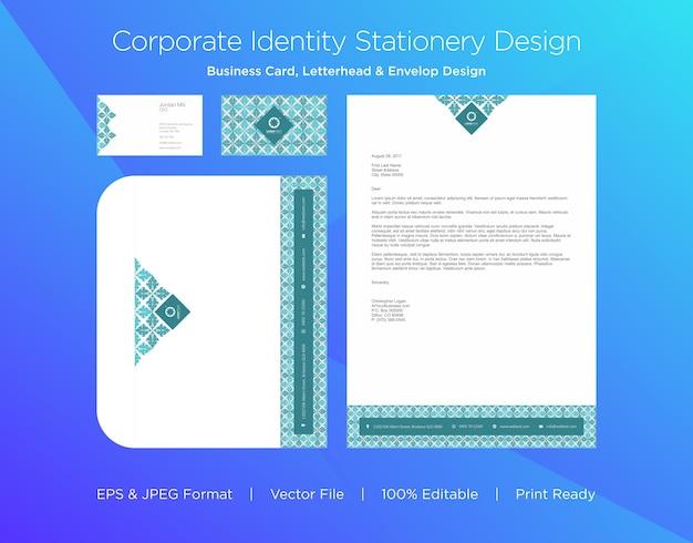 Cartão de visita profissional, papel timbrado e modelo de design de envelope
