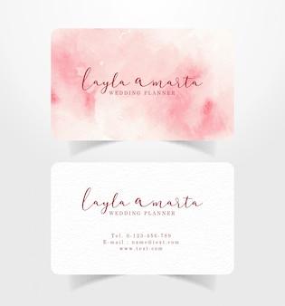 Cartão de visita rosa splash fundo aquarela