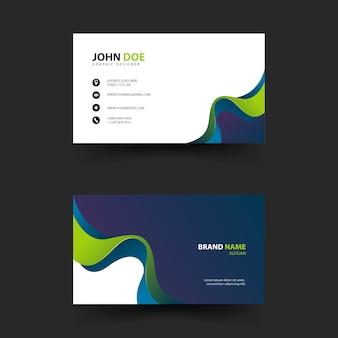 Cartão de visita simples com formas de ondas Vetor Premium