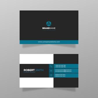 Cartão de visita simples e moderno com azul vermelho