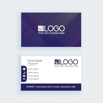 Cartão de visita simples moderno listra azul escuro modelo ou cartão de visita