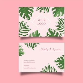 Cartão de visita tropical de folhas de verão