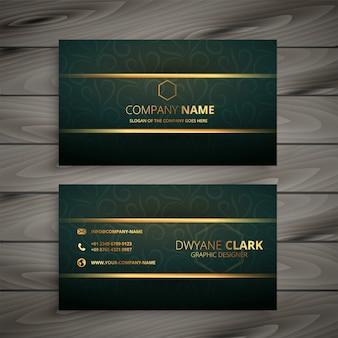 Cartão de visita verde dourado superior do estilo