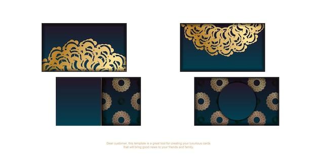 Cartão de visita verde gradiente com padrão de ouro grego para seus contatos.
