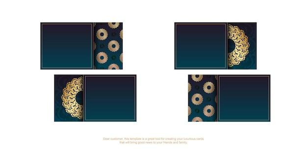 Cartão de visita verde gradiente com padrão grego de ouro para o seu negócio.
