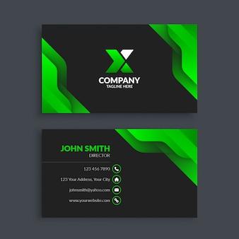 Cartão de visita verde moderno abstrato