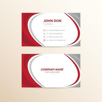 Cartão de visita vermelho & de prata
