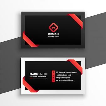Cartão de visita vermelho e preto à moda