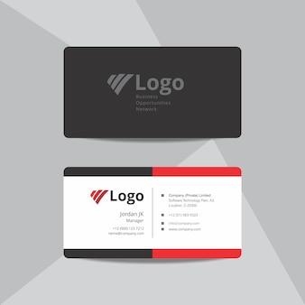Cartão de visita vermelho e preto profissional