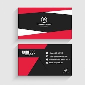 Cartão de visita vermelho e preto