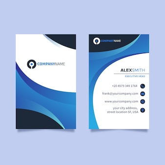 Cartão de visita vertical azul