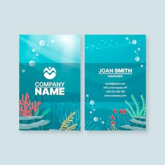 Cartão de visita vertical com elementos oceanos