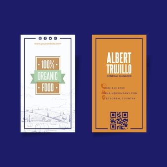 Cartão de visita vertical de alimentos bio e saudáveis