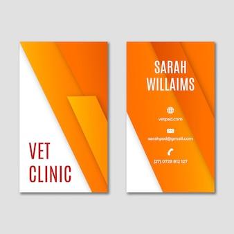 Cartão de visita vertical de clínica veterinária de animais saudáveis