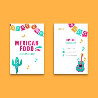 Cartão de visita vertical de comida mexicana