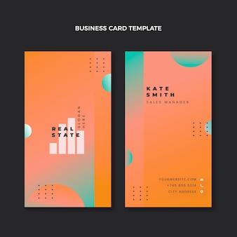 Cartão de visita vertical de gradiente imobiliário