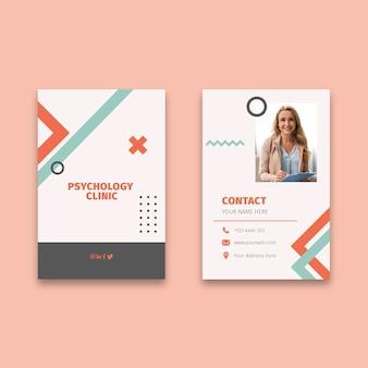 Cartão de visita vertical de psicologia