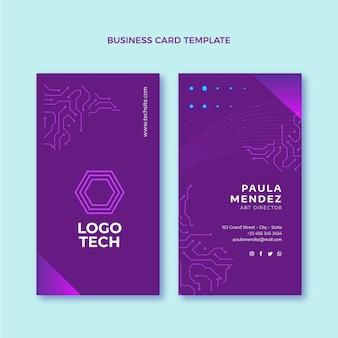 Cartão de visita vertical de tecnologia de design plano Vetor Premium