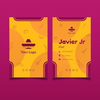 Cartão de visita vertical frente e verso comida mexicana