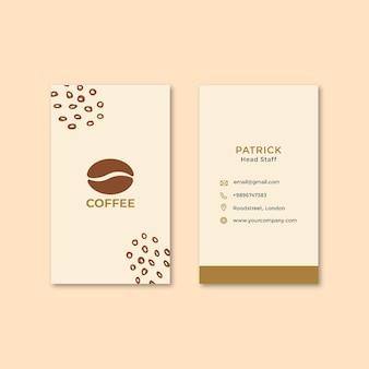 Cartão de visita vertical frente e verso em grão de café