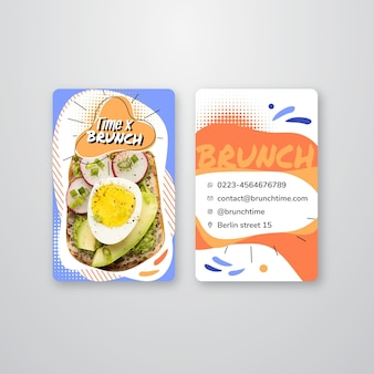 Cartão de visita vertical frente e verso para brunch
