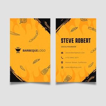 Cartão de visita vertical frente e verso para churrasco