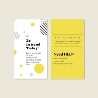 Cartão de visita vertical frente e verso para negócios em geral