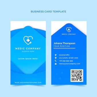 Cartão de visita vertical médico gradiente
