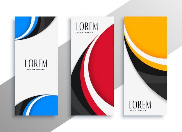 Cartão de visita vertical ondulado colorido ou design de banner