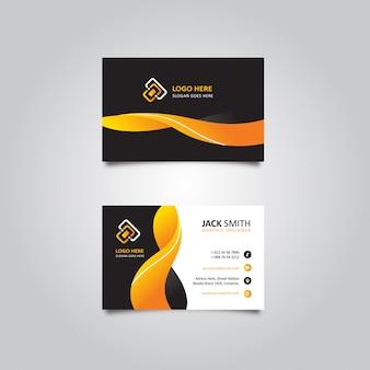 Cartão de visita weby abstrato laranja em preto