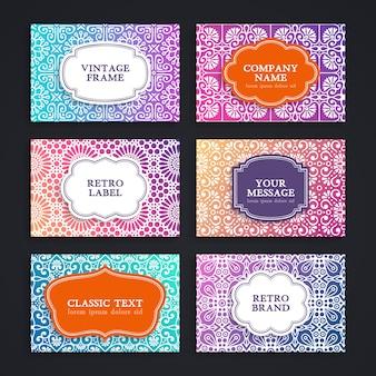 Cartão de visitas. elementos decorativos do vintage